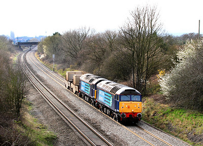 57004 & 57003 pass Badgeworth heading 6M67 13.02 Bridgwater to Crewe flask train.