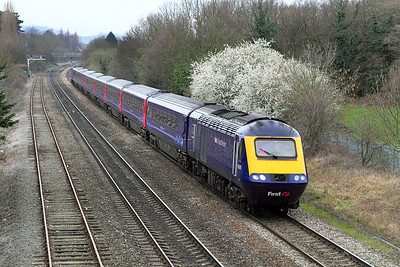 43010 & 43378 have charge of 1Z30 08.15 Paddington to Cheltenham race special passing Hatherley.