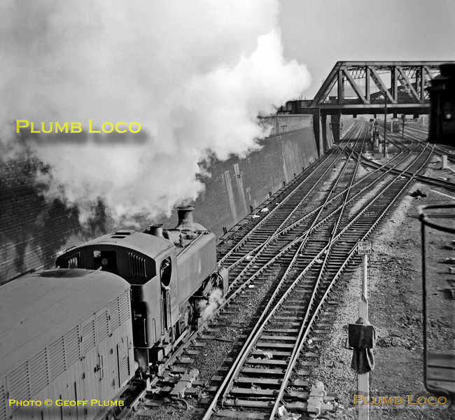 GWR 15xx class outside cylinder 0-6-0PT No. 1500 heads out of the yard at Old Oak Common with empty stock for Paddington on Monday 29th October 1962. B&W Neg No. 224.