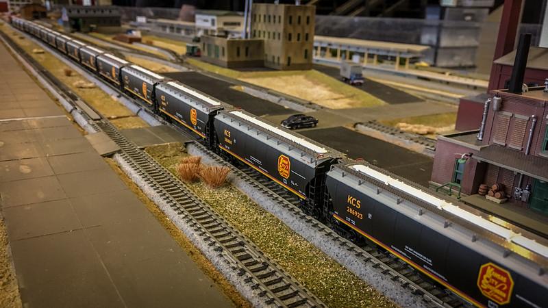 Omaha Ntrak - KCS Grain Train waiting in a siding