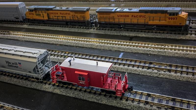 Omaha Ntrak - Nebraska Central transfer caboose in the yard