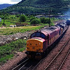 37405 & 37409 Loch Awe come off Fort William depot light engine. 27/5/1998