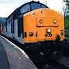 37409 Loch Awe and 37405 pause at Crianlarich with the Fort William bound loaded Alcan tanks 26/5/1998