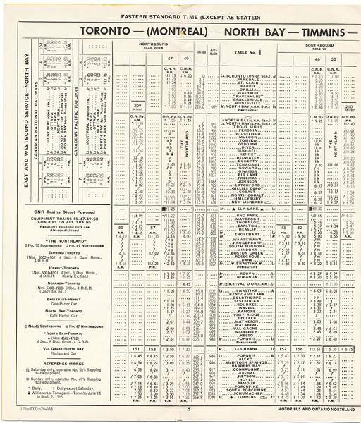 Ontario Northland Railway timetable 1963 April 28 - Toronto - North Bay - Timmins