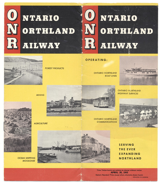 Ontario Northland Railway timetable 1963 April 28