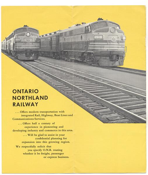 Ontario Northland Railway timetable 1963 April 28