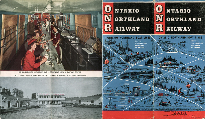 Ontario Northland Railway timetable 1948 September 5th. Cover and back cover.
