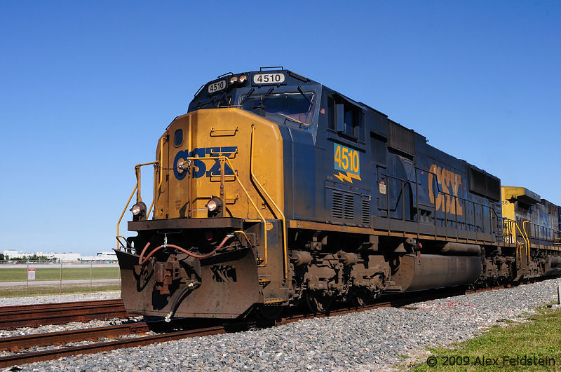 CSX train passing by Miami airport's spur