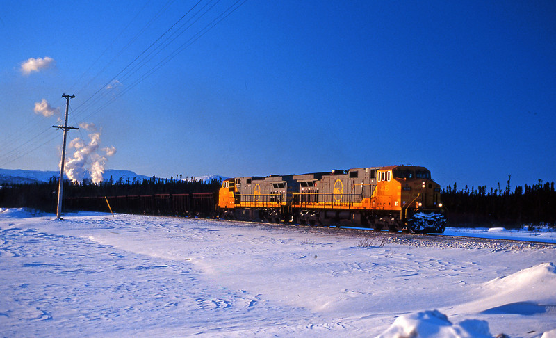 Back at Labrador City another pair of GE C44-9Ws waiting for the highball to leave town.