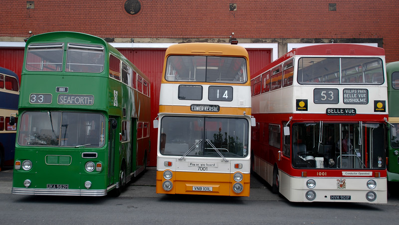 Bus design modernism - though the Merseyside PTE Atlantean variant (on the left) looks like it's still wearing a flat cap and having a cig hunched up against the winds coming off the Mersey in its comfortable trad dad green. Certainly compared with the cleaner lines and bold orange and white livery of the GM variant in the centre. And then, better still, there's the Mancunian on the right - the shoebox marked style.