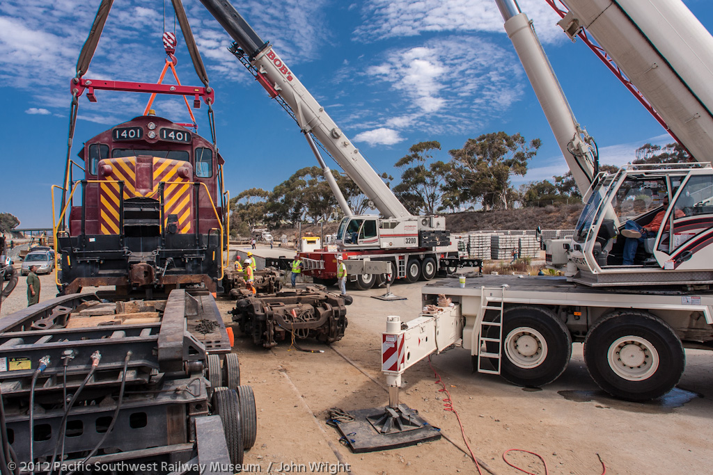 Crane operators relaxing while the crew checks the alignment