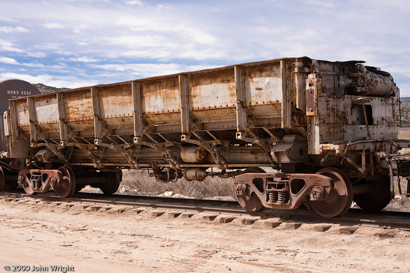 Side-dump hopper car formerly owned by US Gypsum.  This car was originally narrow guage and was converted to standard guage by the museum.