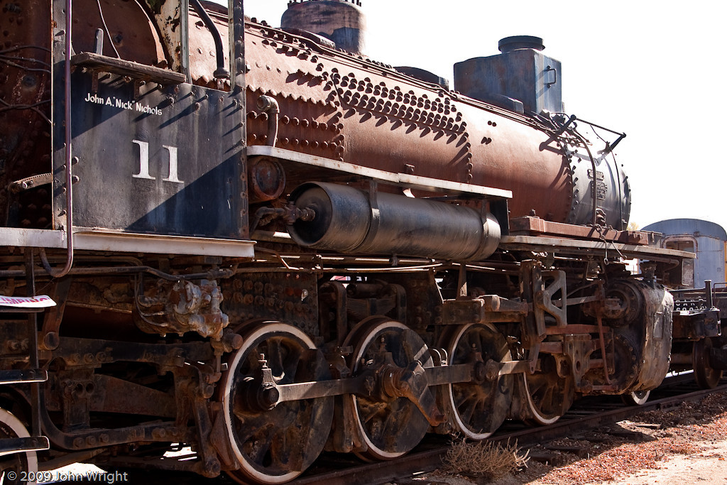 Coos Bay 11, an ALCO 2-8-2 saddle tank locomotive.  Currently undergoing restoration