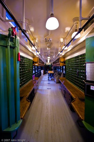 Interior of ATCHISON, TOPEKA, & SANTA FE RAILWAY #74 Railway Post Office Car