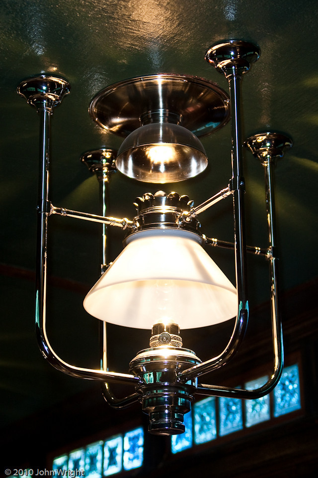 """Recently installed chandelier in the """"Jim Crow"""" car."""