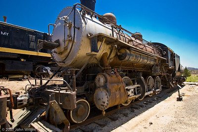San Diego and Arizona Railway #104 steam locomotive, a 2-8-0 Consolidation road engine.