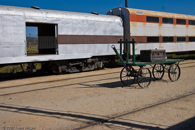 Luggage cart outside the depot