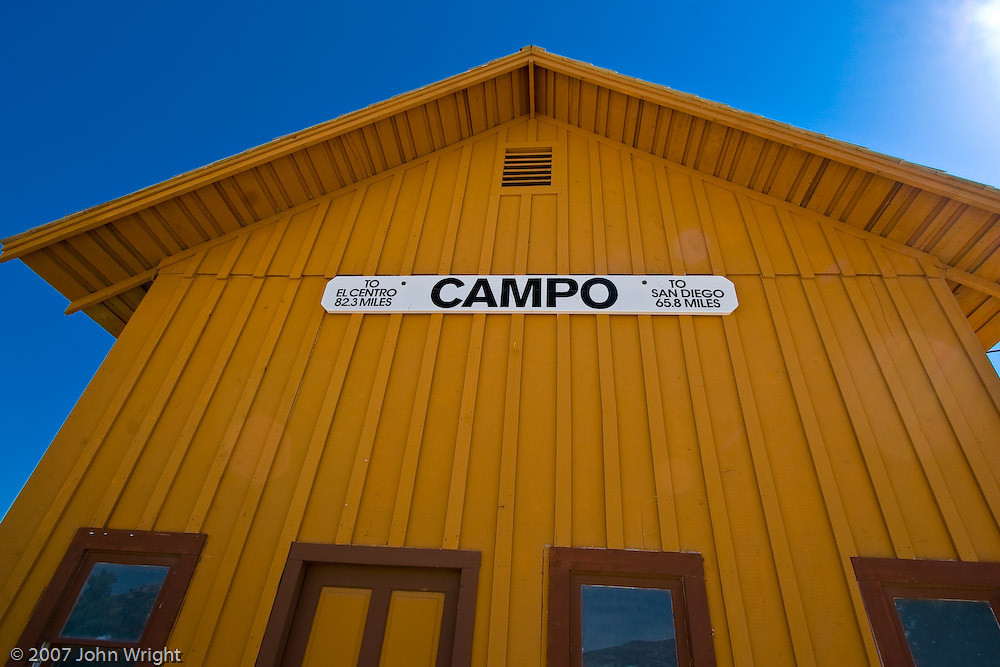 Sign on the Campo Railway Depot