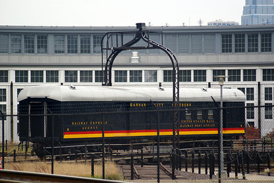Former Kansas City Southern Railway Post Office car on display at a roundhouse in Kansas City.