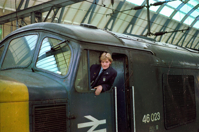 A very young 18 year old secondman poses for the camera at kings cross having worked a special from leeds (YOURS TRULY) 1983.