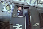 Driver John Poskit poses at London kings cross having just worked a special from Leeds.
