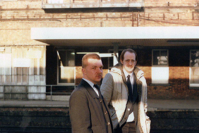 Steve Titheridge and Instructor Brian Hagger stand at Wakefield Kirkgate during MP12 Training.Cheer up Steve,them Schematic diagrams aren't as bad as they look.1987.Image Courtesy of Andy Horn.Steve sadly passed away from cancer in 2012.R.I.P Steve.