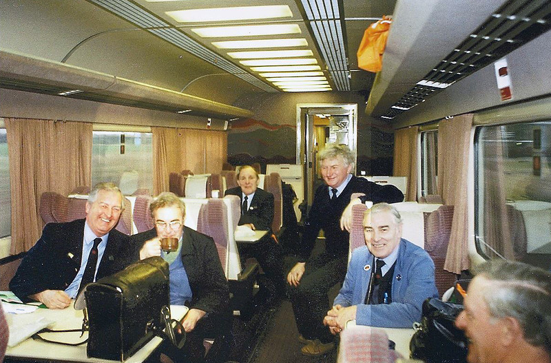 Some 'old hands' here? Leeds drivers relaxing during 91 training.L-R Wilf Stone,Sid Adams,Doug Shiletto,Norman Waistle,Bob Morley and Bert Ford.Nice Hush Puppies Norman.1991.Image Courtesy of Karl Watts.