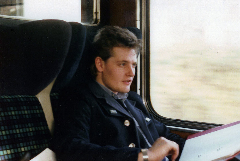 A young 23 year old 'Richard Armstrong' catches up on some revision during my MP12 to become a Train Driver with 'British Rail'.1987.Image Courtesy of Andy Horn.