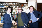 Drinking on duty?..L-R..Secondman Chris Carrington,Guard Paul Meikle-jones and the Driver Barry Stead enjoy a few beers in the 'Station Inn' at Ribblehead whilst the train is loaded with ballast.Happy Days.1980s.All images courtesy of Paul Mickle-jones.Thanks Paul.