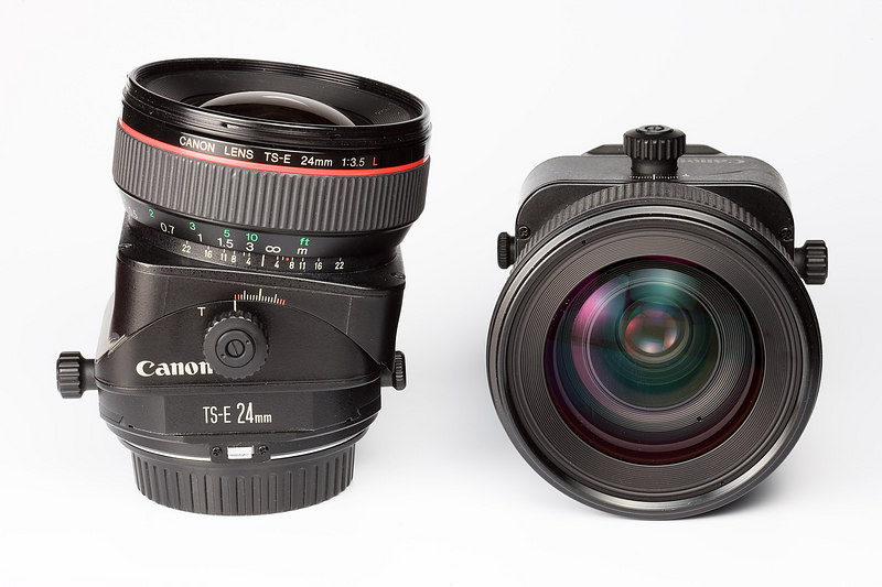 24 and 45mm Canon tilt/shift lenses. The tilt mechanism also rotates in the lens mount so that the plane of best focus can be tilted to any angle.