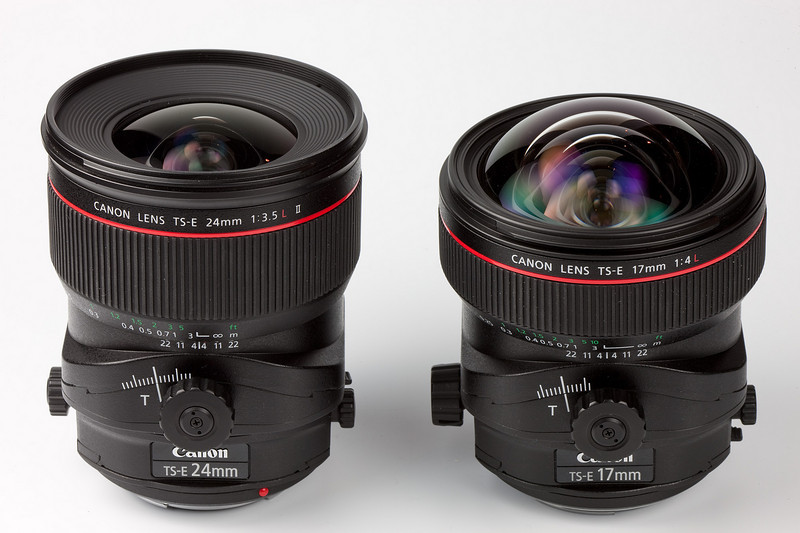 The new Canon 24mm and 17mm TS-E lenses. Both are razor sharp and employ Canon's subwavelength coating to reduce flare. The coating may be responsible for the etherial diffuse colors seen deep inside the lens elements.<br /> <br /> A lens as wide as the 17mm can only be used in very specialized photographic situations. Filters and lens hoods cannot be used, but the lens is remarkably free of flare spots without one.