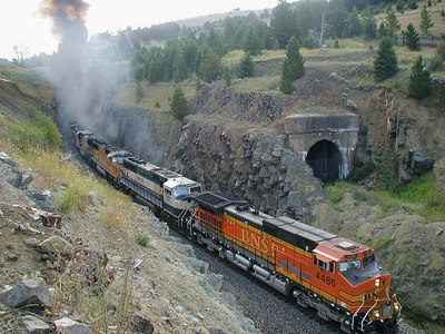Taken by a railfan and sent to me via e-mail  Me running a coal tran leaving the Bozeman Pass Tunnel Who took this?  Please let me know.