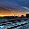 Train yards near downtown Denver