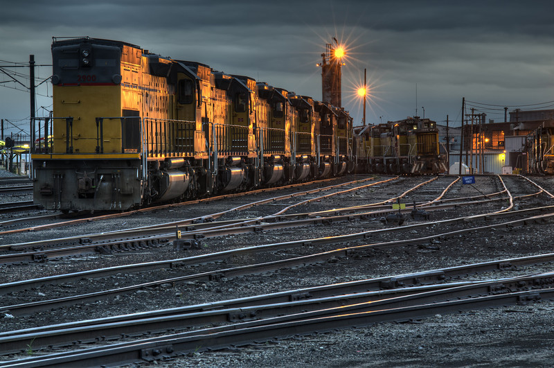 Twilight at the train yards near downtown Denver.