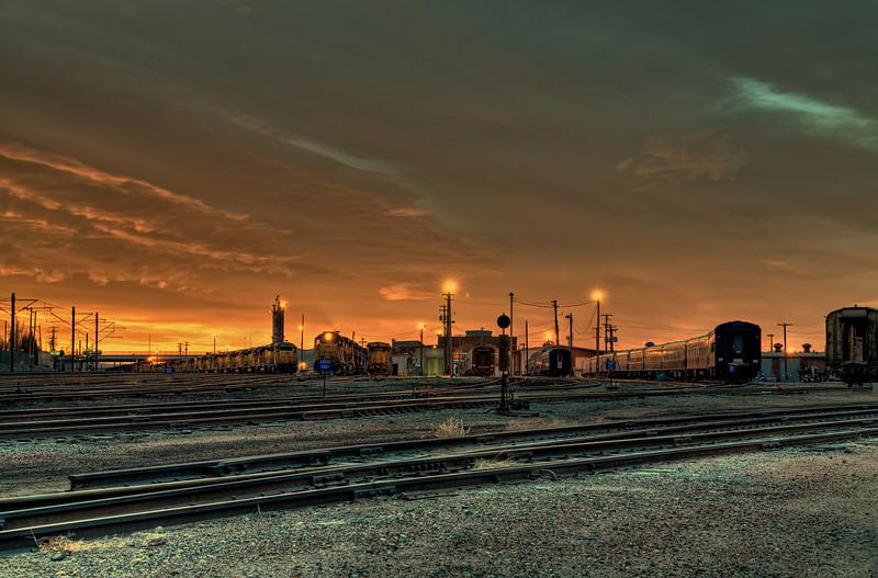 Train yards near downtown Denver