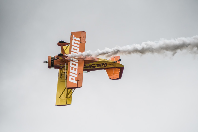 """Mr. Airshow,"" Gene Soucy in his Grumman Ag Cat"