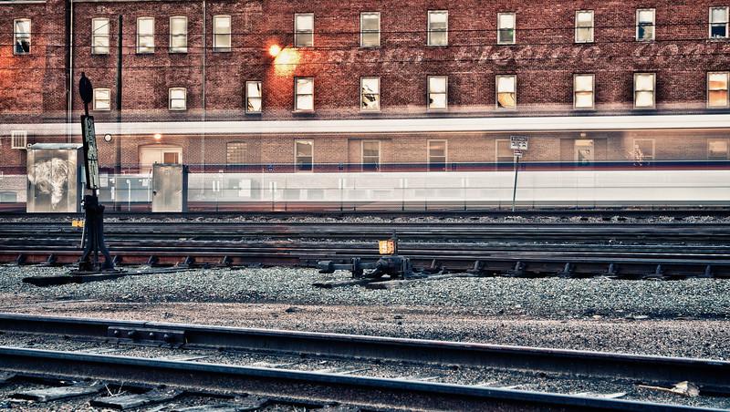 Light rail train speeding by.