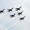The Thunderbirds perform a pre race flyover in their famous red, white and blue F-16's, Las Vegas Motor Speedway.