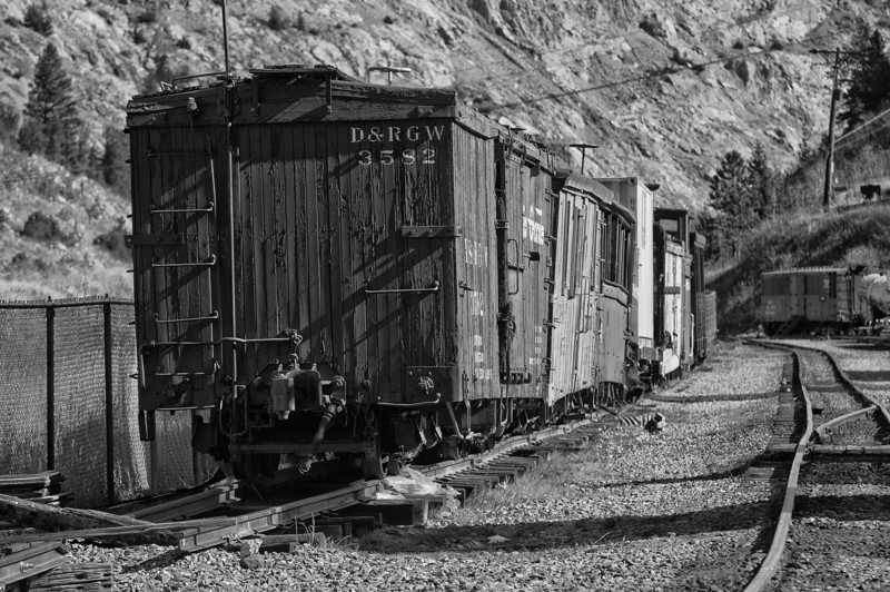 Railcars from the Georgetown Loop railroad in Georgetown, Colorado.