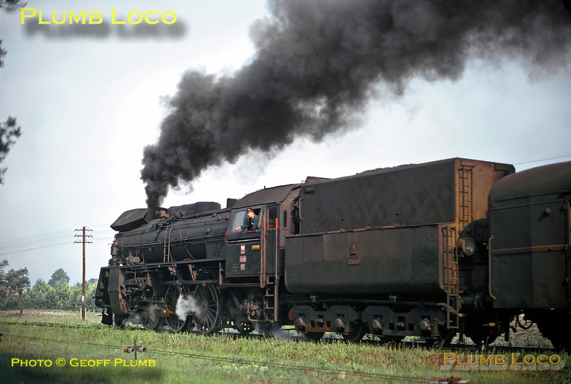 PKP 2-6-2 No. Ol49-93 blasts away from its station stop at Wezyska with a train from Zbaszynek at 07:18 to Gubin, on Wednesday 26th June 1974. Slide No. 12932.
