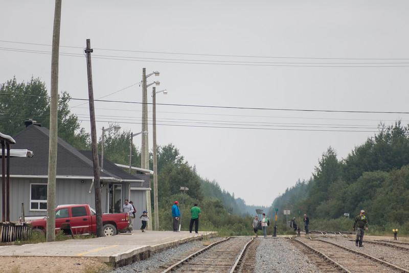 People waiting for the train in Moosonee.