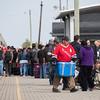 Polar Bear Express mixed train in Moosonee. People unloading their baggage.