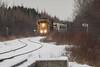 The Polar Bear Express arrives in Moosonee 2015 December 23rd behind GP38-2s 1801 and 1808.