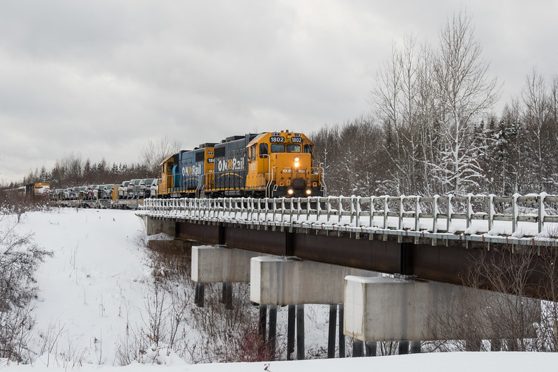 GP38-2 1802 leads the Polar Bear Express into Moosonee.