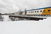 Class coach 857 leads the passenger consist of the Polar Bear Express.