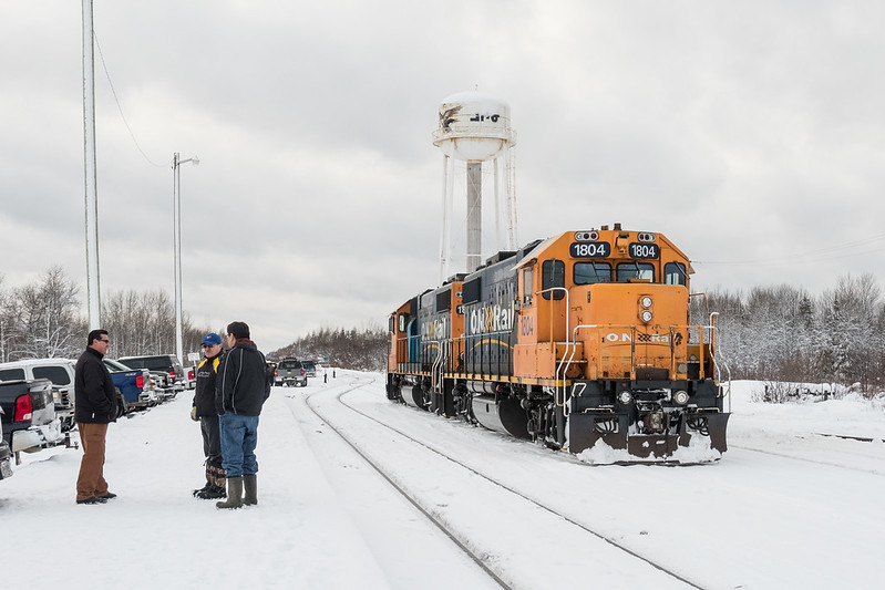 GP38-2 1804 and 1806  on freight duty just before the Polar Bear Express arrives in Moosonee.