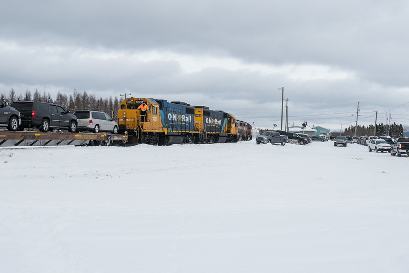 GP38-2s 1802 and 1801 lead the Polar Bear Express mixed train into Moosonee.