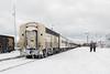 Polar Bear Express along station platform in Moosonee. Locomotives at right in freight service.