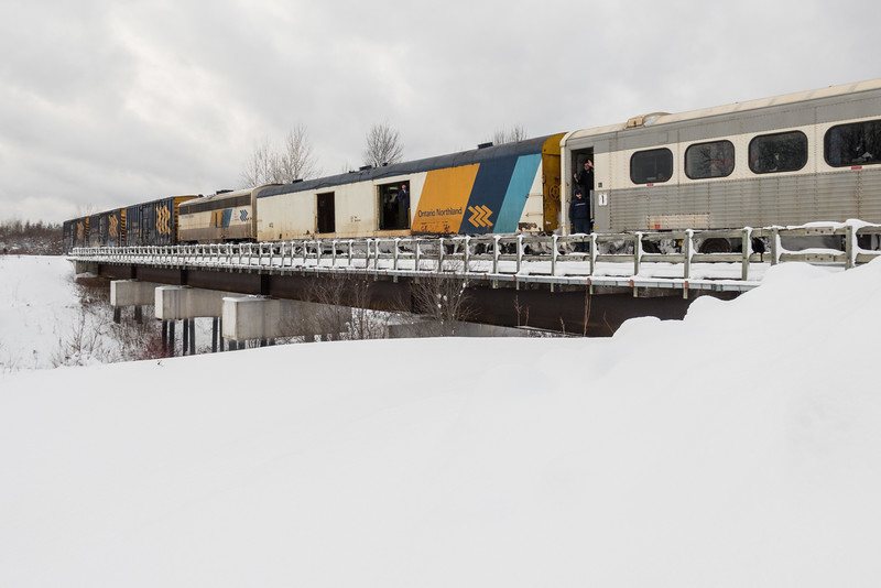 Baggage car 412 and APU 204 near the end of the Polar Bear Express.