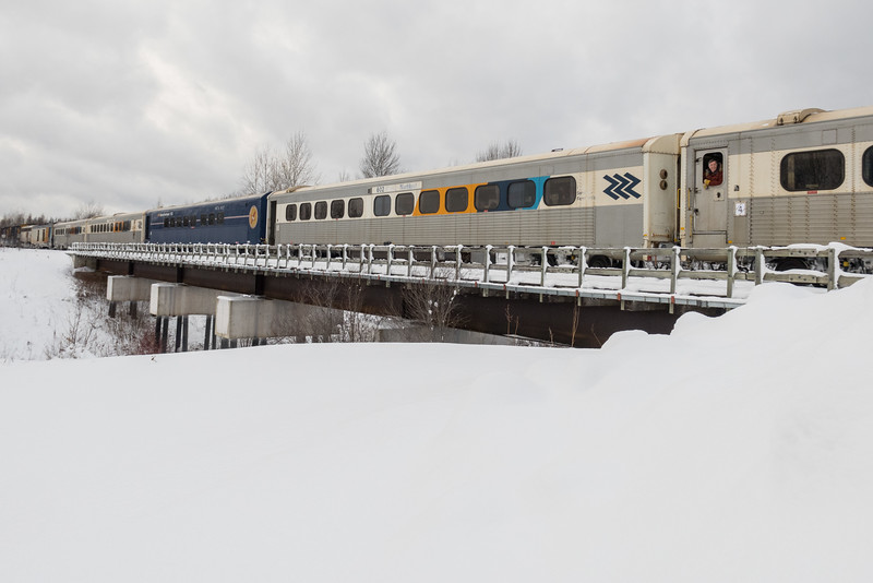 Passenger coaches in the consist of the Polar Bear Express.